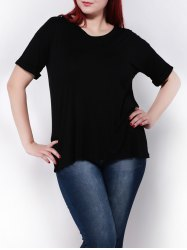 Plus Size Stretchy Hemming Sleeves T-Shirt