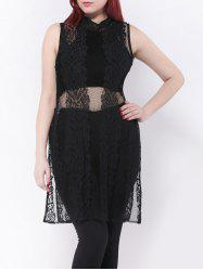 Side Slit Longline Lace Plus Size Sheer Blouse