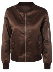 Pockets Design Zipper Pilot Jacket -