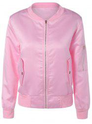 Pockets Design Zipper Pilot Jacket - PINK
