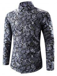 Turn-Down Collar 3D Paisley Print Long Sleeve Shirt - BLACK
