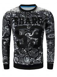 Crew Neck Paisley and Number Print Long Sleeve Sweatshirt
