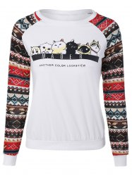 Raglan Sleeve Cartoon Cat Sweatshirt - WHITE 2XL