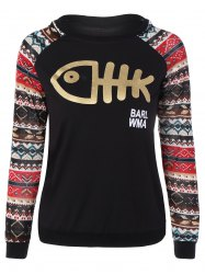 Raglan manches Cartoon Fishbone Sweatshirt - Noir