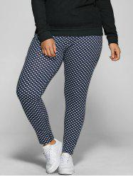 Polka Dot Print Plus Size Drawstring Pants
