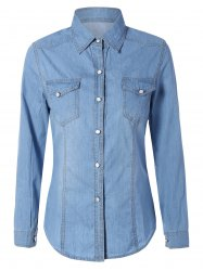 Double Front Pockets Long Sleeve Light Denim Shirt