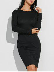 Long Sleeve Plain Casual Fitted Dress