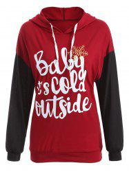 Drop Shoulder Drawstring Christmas Snowflake Hoodie - DEEP RED 2XL