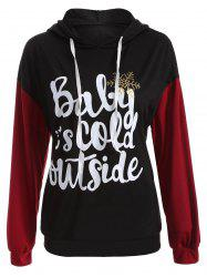 Drop Shoulder Drawstring Christmas Snowflake Hoodie - BLACK 2XL