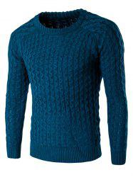 Textured Crew Neck Slim Fit Pullover Sweater - LAKE BLUE
