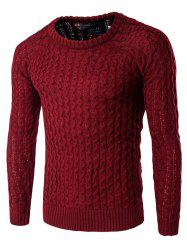 Textured Crew Neck Slim Fit Pullover Sweater