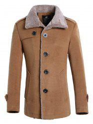 Faux Fur Collar Single Breasted Wool Mix Jacket - KHAKI
