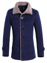 Faux Fur Collar Single Breasted Wool Mix Jacket -