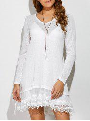 Layered Lace Trim Dress - WHITE