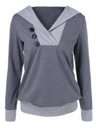 Button Embellished Hoodie - GRAY L