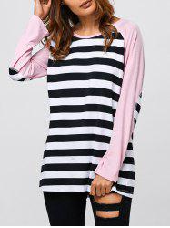 Striped Trim Elbow Sleeve T-Shirt - STRIPE XL