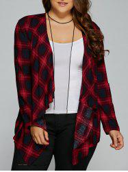Plus Size Asymmetrical Plaid Cardigan - CHECKED