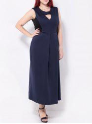 Plus Size Keyhole Spliced Maxi Dress