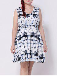 Plaid Splash-Ink Belted Swing Dress