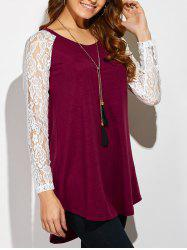 Lace Sleeve High Low Hem T-Shirt - RED WITH WHITE XL
