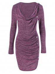 Ruched Button Embellished Heather Dress -