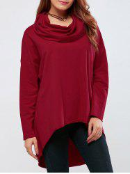 Cowl Neck High Low Hem Pullover