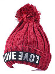 Warm Big Ball Love Letter Knitted Beanie - WINE RED