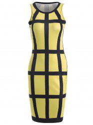 Sleeveless Checked Pencil Knee Length Dress - YELLOW L