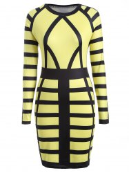 Bandage Bodycon Midi Dress with Long Sleeves