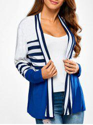 Ruffles Splicing Striped Cardigan - BLUE AND WHITE