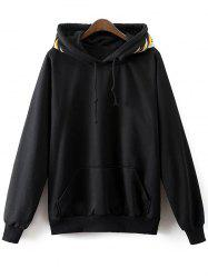 Front Pocket Drawstring Embroidered Hoodie -