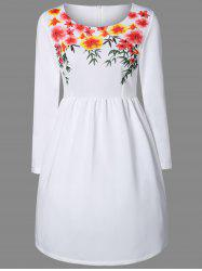 Floral Print A-Line Long Sleeve Dress - WHITE M