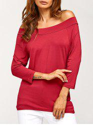 Solid Color Off The Shoulder T-Shirt