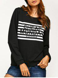 Letters Stripes Print Sweatshirt