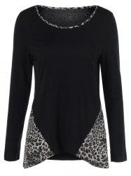 Leopard Trim Asymmetrical T-Shirt