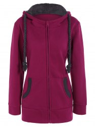 Drawstring Zip Up Fleece Hoodie - ROSE MADDER L