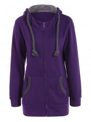 Drawstring Zip Up Fleece Purple Hoodie