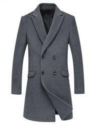 Woolen Blend Double Breasted Lapel Coat