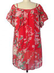 Floral Mini Chiffon Bohemian Tunic Dress - RED