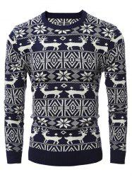 Deer Pattern Crew Neck Christmas Sweater - CADETBLUE
