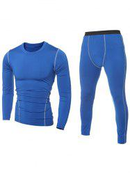 Contrast Stitching T-Shirt and Skinny Gym Pants Twinset - BLUE 2XL