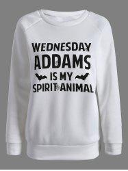 Wednesday  Addams Letter Sweatshirt - WHITE