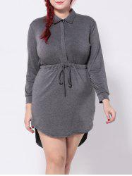 Long Sleeve Drawstring Asymmetric Dress