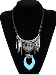 Artificial Leather Braid Heart Engraved Necklace - LAKE BLUE