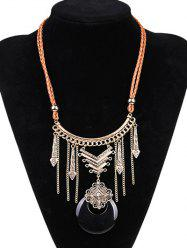 Artificial Leather Moon Braid Engraved Necklace - BLACK/GOLDEN
