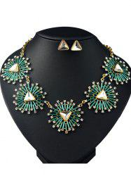 Faux Gemstone Triangle Necklace and Earrings -