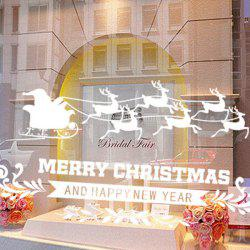 Showcase Decor Removable Merry Christmas Deer DIY Wall Stickers