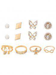 Rhinestone Infinite Leaves Rings and Earrings - GOLDEN ONE-SIZE