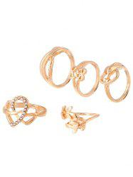 Coeur strass Infini Ring Set - Or