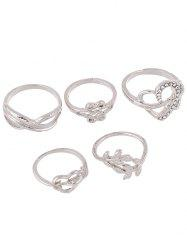 Rhinestone Heart Infinite Ring Set